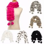 Women Ladies POM-POM Faux Rabbit Fur ball Scarf Collar Soft Neck Wrap Shawl