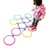 Kids Outdoor Jumping Ring Games with Friends Preschool Teaching Aid Sport Toy Hopscotch Jump to the Grid Children Sensory Integration Training Game