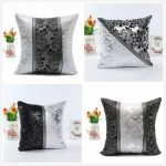 45 45cm Retro Style Square Black Silver Throw Pillow Case Sofa Imitation Leather Cushion Cover