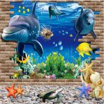 3D Blue Sea World Dolphin Removable Wall Sticker Wallpaper Home Decor