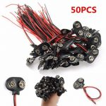 50Pcs 9V Battery Connector Snap Clip T Style Cable Wire Lead Holder Adapter 145mm