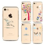 Fashion Creative Girl Animals Cat Painted Soft Ultra-thin Transparent TPU Silicone Case Cover For iPhone 7