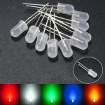 10pcs 5mm Round Top Milky Diffused LED Emitter Diodes Light Red Green Blue Yellow White