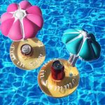 Summer Water Inflatable Cup Base Swimming Pool Toy Floating Drink Can Holder