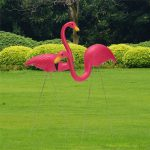 2PCS Pink Flamingo Plastic Yard Garden Lawn Art Ornaments Retro Toy Decor