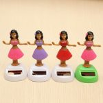 4Pcs Solar Powered Dancing Hula Girl Swinging Bobble Doll Gift Car Home Ornament