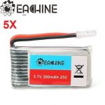 5X Eachine 3.7V 380mah 25C Lipo Battery for Eachine E20 Hubsan H107 H107L H107C H107D JJRC H6C H6D