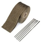 50mmx5m Exhaust Heat Wrap Insulation Pipe Tape Titanium Glass Fiber With 6 Stainless Ties