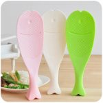 Novelty Vertical Rice Paddle Spoon Cute Fish Shape Spoon Non Stick Useful Kitchen Tools