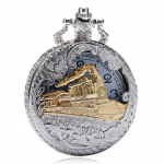 Fashion Train Carved Openable Hollow Steampunk Pocket Watch Charming Necklace Quartz Watch