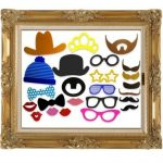 24Pcs Photo Booth DIY Hat Mustache Frame Props Wedding Birthday Party Fun Decor