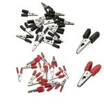 32pcs Red Black Alligator Clips Crocodile Clamp Battery Wire Clip Test Connector