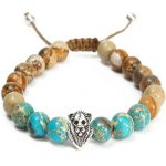 8mm Beads Jasper Stone Lion Head Men Women Bracelet