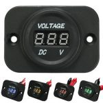 12V-24V Waterproof LED Voltmeter Voltage Meter Gauge Car Boat Marine Motorcycle