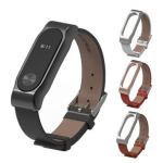 Mijobs Leather Bracelet Replacement for Xiaomi MiBand 2 Wrist Strap Smartband Tools