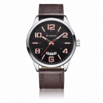 CURREN 8236 Fashion Leather Strap Quartz Men Watch Casual Clearly Large numbers Display Sports Watch