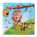 9Pcs DIY Wooden Bee Puzzle Jigsaw Baby Kids Training Toy