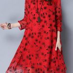 Women Vintage Fake Two Piece Print Loose Dresses