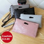 Women Crocodile Genuine Cowhide 6.3 Inches Phone Clutch Wallet Keys Card Coin Holder 5 Colors