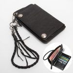 Men Vintage Biker Rocker Leather Zipper Wallet Phone Bag Card Holder Chain for under 6 inches Phone