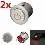 2pcs 12V 22mm LED Autolock Power Push Button ON/Off Switch Red