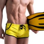 Mens Summer Adjustable Drawstring Arrow Boxers Swimming Trunks