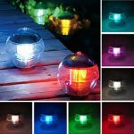 Waterproof LED Solar Floating Light Multi Color Changing Hanging Globe Ball Lamp Decor