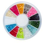 12 Colors Nail Art Tips Pearls Beads Decoration Wheel