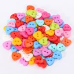 100pcs Mixed Heart Buttons Acrylic Sewing Craft Two Holes Buttons