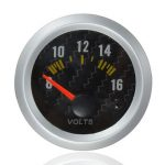 Carbon Fiber Face Voltmeter Volt Gauge 12V Yellow LED 8 to 16 Volts
