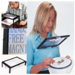 LED A4 Page Large Hands Free Magnifier 3X Magnifying Reading Cord