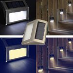 2X White Solar Power LED Stairs Pathway Garden Yard Wall Lamp