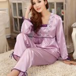 Women Lovely Long Sleeve Lace Silk Pajamas Suit