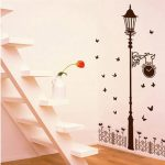 Fence Streetlight Butterfly Wall Sticker Removable Decal