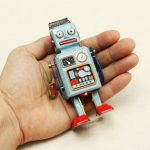 Vintage Wind Up Tin Toy Clockwork Spring Robot Toy With Key