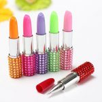 Blue Ink Multi-Color Crystal Lipstick Shape Stationery Ball Point Pen