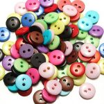 100pcs 2 Holes Mixed Color Round Resin Button Sewing Accessories