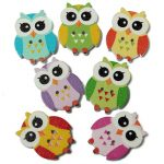 100pcs 2 Holes Multi Color Cute Owl Pattern Wooden Buttons