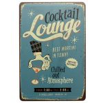 Cocktail Lounge Tin Sign Vintage Metal Plaque Pub Bar Wall Decor