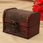 Retro Printed Wooden Jewelry Storage Box Vintage Container Case