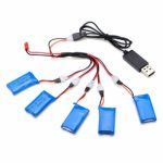 H107C-004 5×3.7V 380mAh Battery 2 to 5 Cable USB Charging Cable