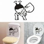Funny Boy Girl Bathroom Wall Sticker Toliet Glass Door Decoration