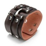 Punk Rivet Double Loop Wide Snap Button Leather Bracelet For Men