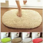 40x60cm Lint Plush Non Slip Absorbent Bathroom Mat Oval Kitchen Carpet Rug