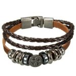 Punk Multilayer Cross Braided Charm Leather Wrap Bracelet Unisex