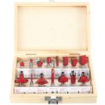 15pcs 1/4 Inch Shank Carbide Router Bit Set Wood Milling Cutter with Wood Case