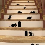 Black Mice And Holes Rats Mouse Wall Sticker Home Decals Decor Art