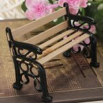 1:12 Wooden Bench Black Metal Dolls House Miniature Garden Furniture Accessories