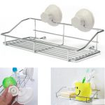 Chrome Bathroom Storage Rack Toilet Sundries Holder Shelf Basket With Suction Cup