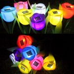 8Pcs/lot Solar LED Tulip Landscape Flower Lights Outdoor Yard Garden Lamps